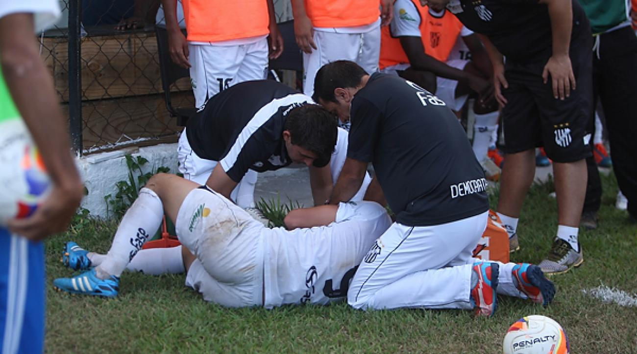 Brazilian soccer player bitten police dog