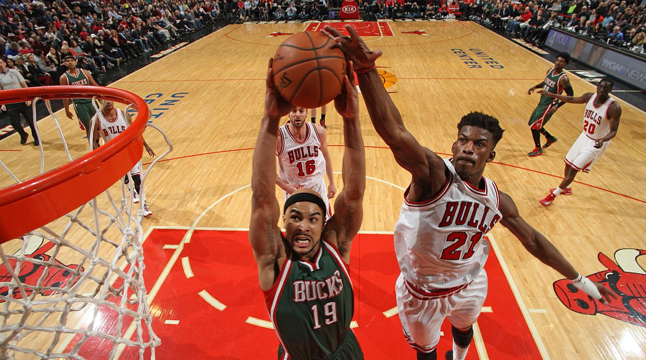 Chicago Bulls Jimmy Butler blocked shot Milwaukee Bucks Jerryd Bayless