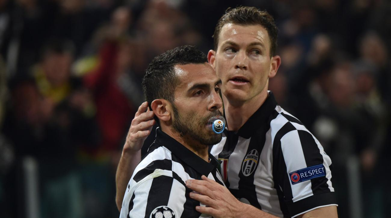 Carlos Tevez scored for Juventus and celebrated with a pacifier.