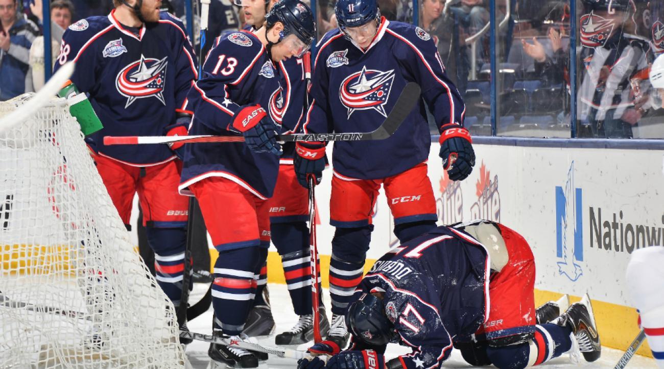 Brandon Dubinsky injury Blue Jackets vs Canadiens