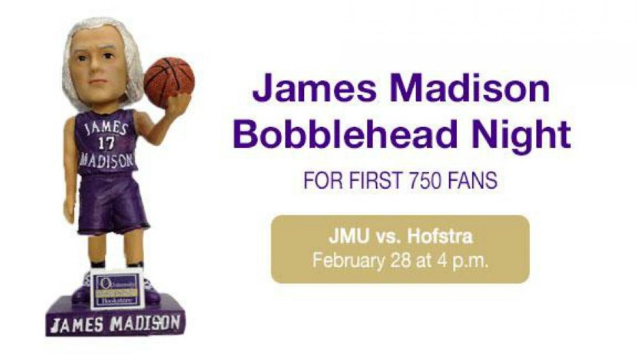James Madison University giving away James Madison bobbleheads