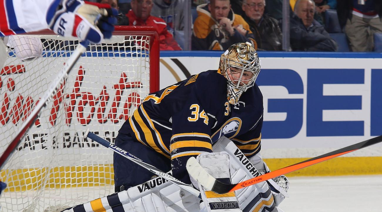 Michal Neuvirth in net for the Buffalo Sabres during a Feb. 20 game against the New York Rangers.
