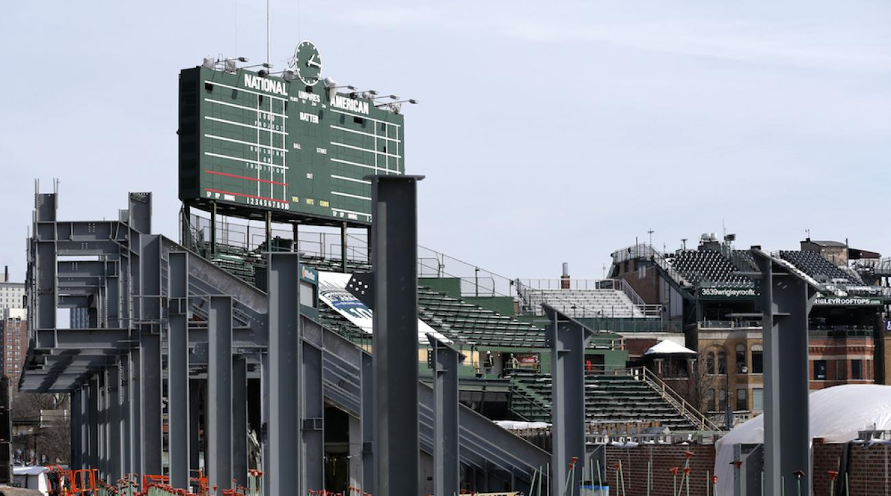 wrigley field construction left field bleachers