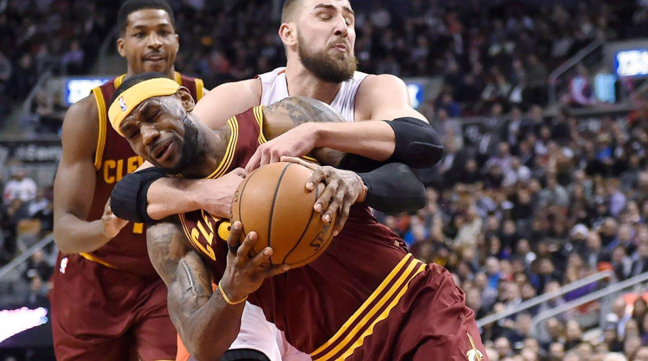 Raptors center Jonas Valanciunas committed a flagrant foul on Cavaliers forward LeBron James.