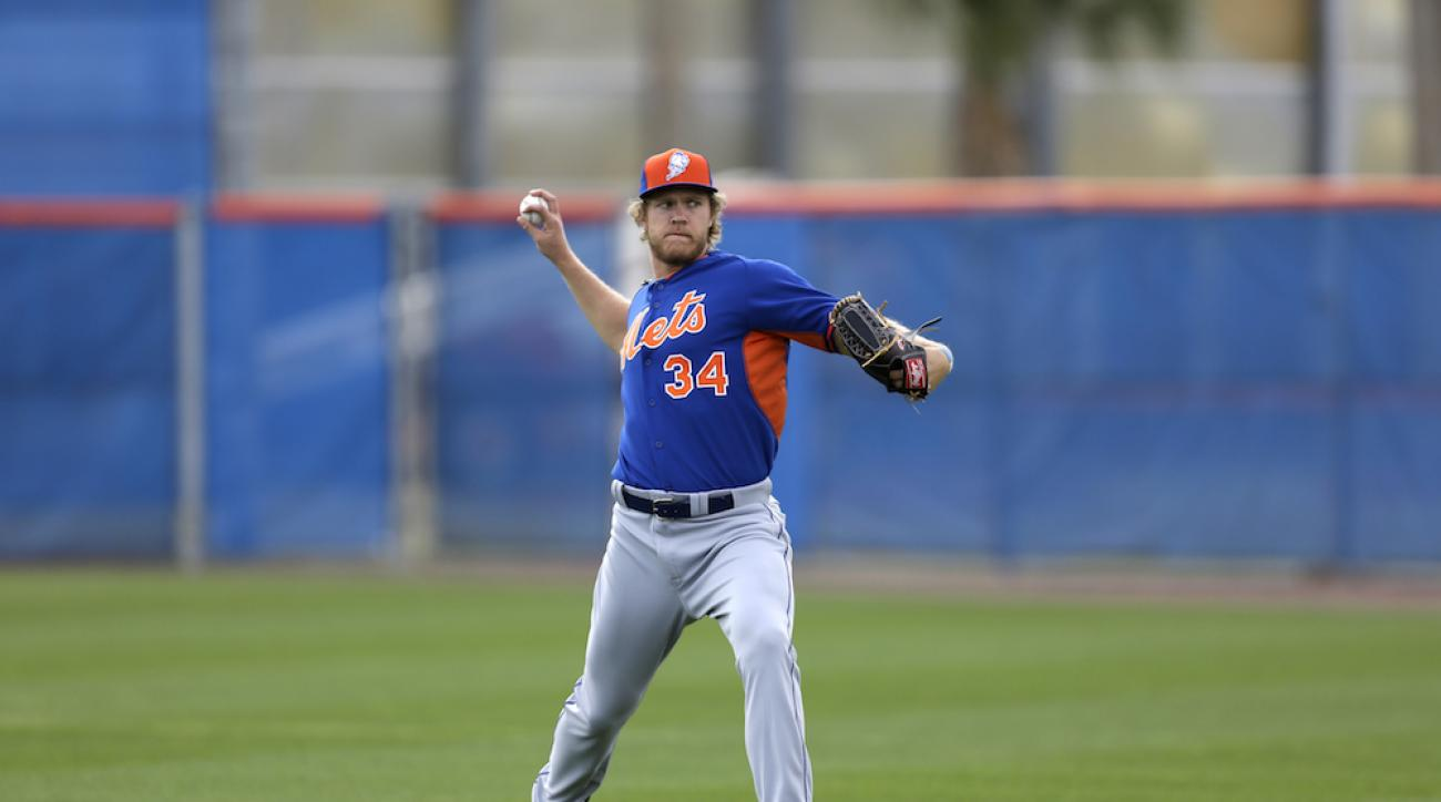 New York Mets pitcher Noah Syndergaard throws during spring training Feb. 21 in Port St. Lucie, Fla.