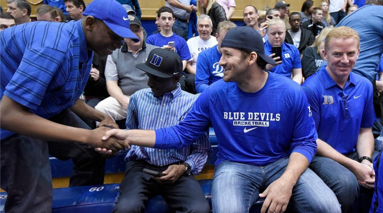Tony Romo, Dallas Cowboys attend Duke basketball game