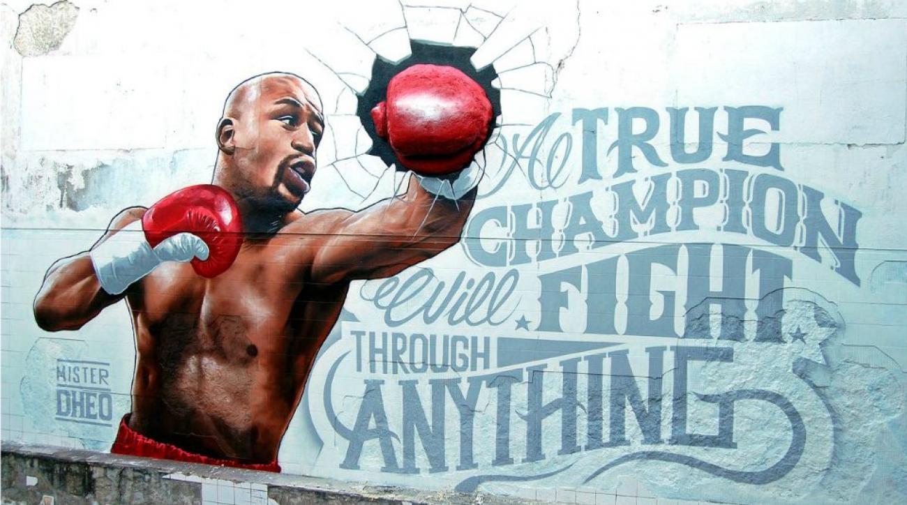 Floyd Mayweather 3D mural