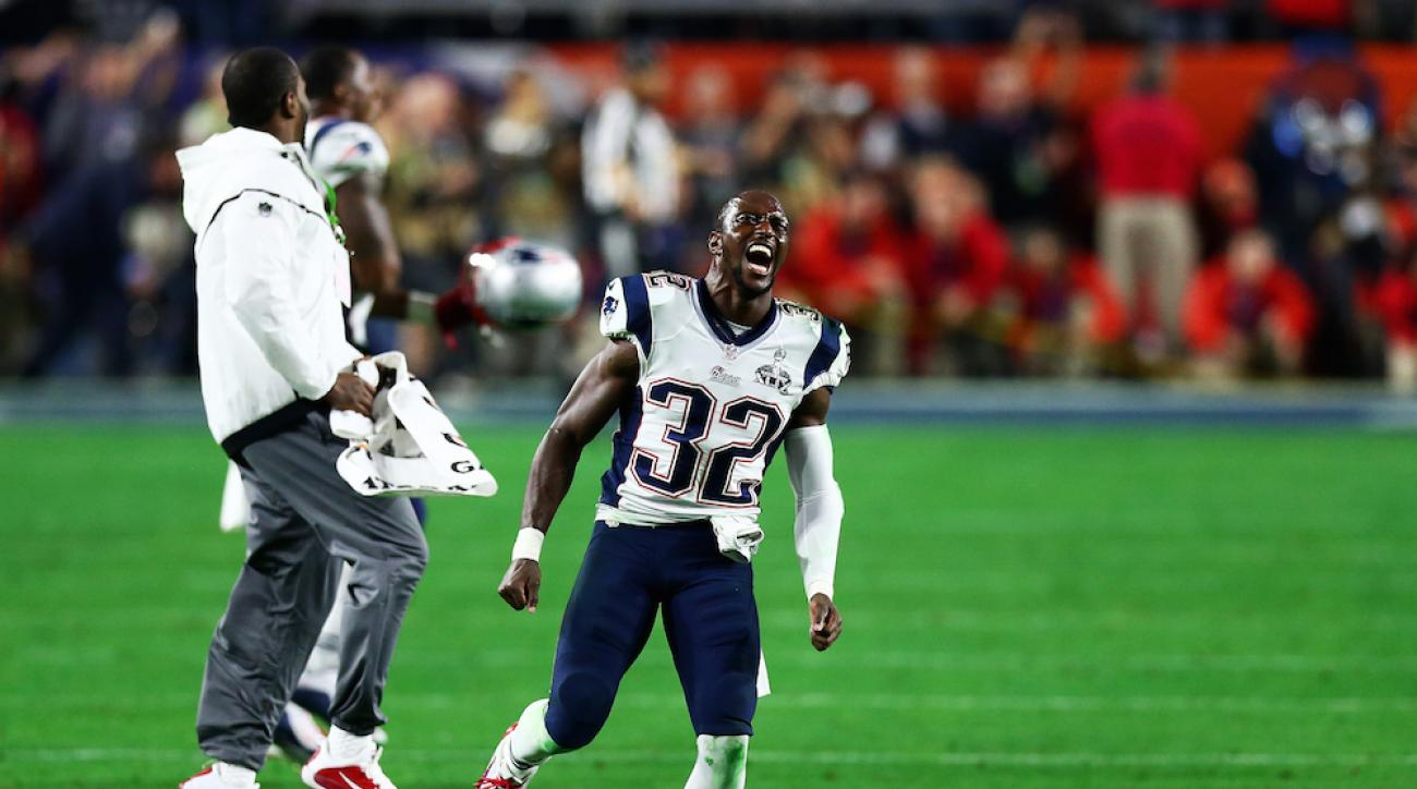 Devin McCourty celebrates after the New England Patriots defeated the Seattle Seahawks in Super Bowl XLIX.