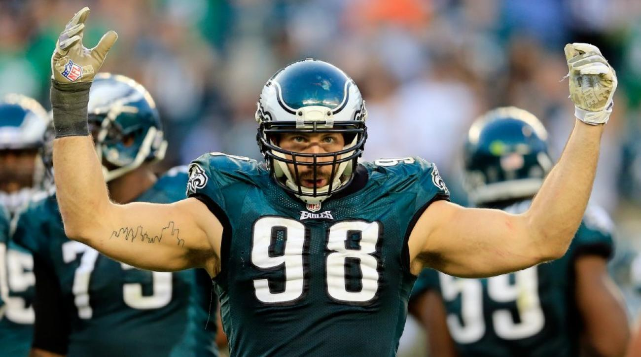 Eagles lineman do push-ups with LB Connor Barwin on their back