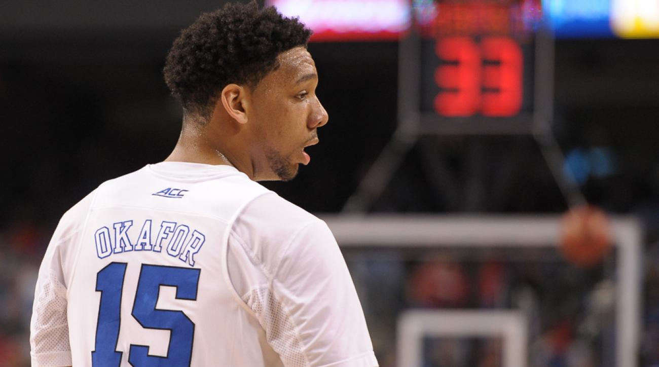 Jahlil Okafor missed a dunk in Duke's March Madness game.