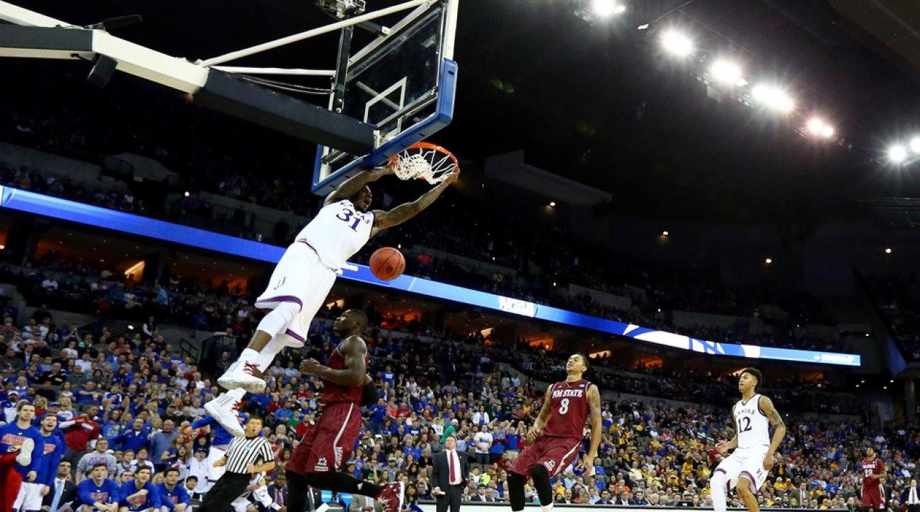 March Madness highlights include a dunk from Kansas' Jamari Traylor.