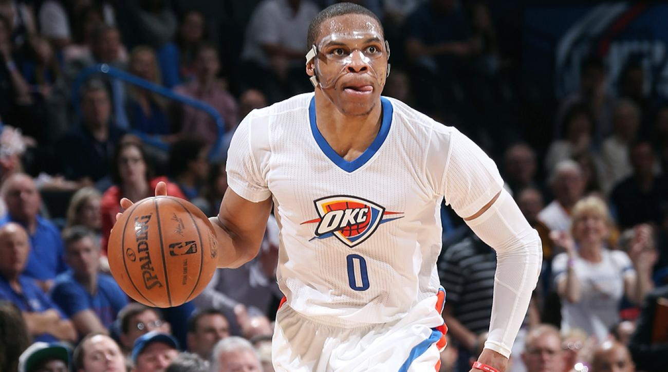 Russell Westbrook picked up his 10th triple double of the season against the Heat.