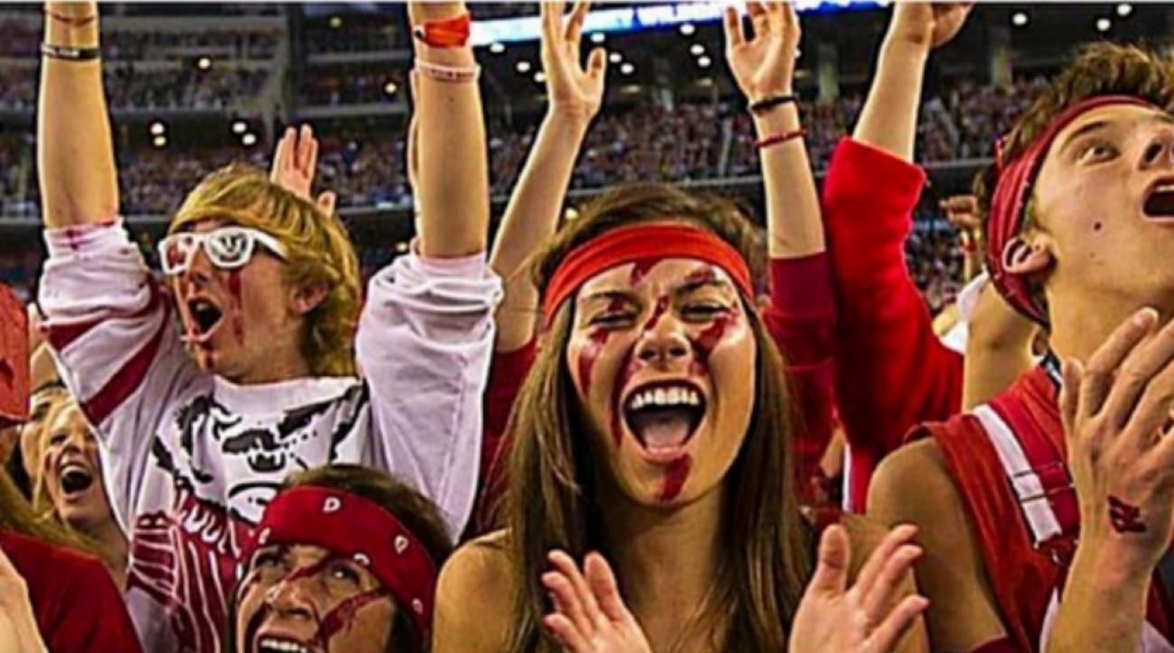 Wisconsin fan not happy she was photoshopped with Duke colors by Bing