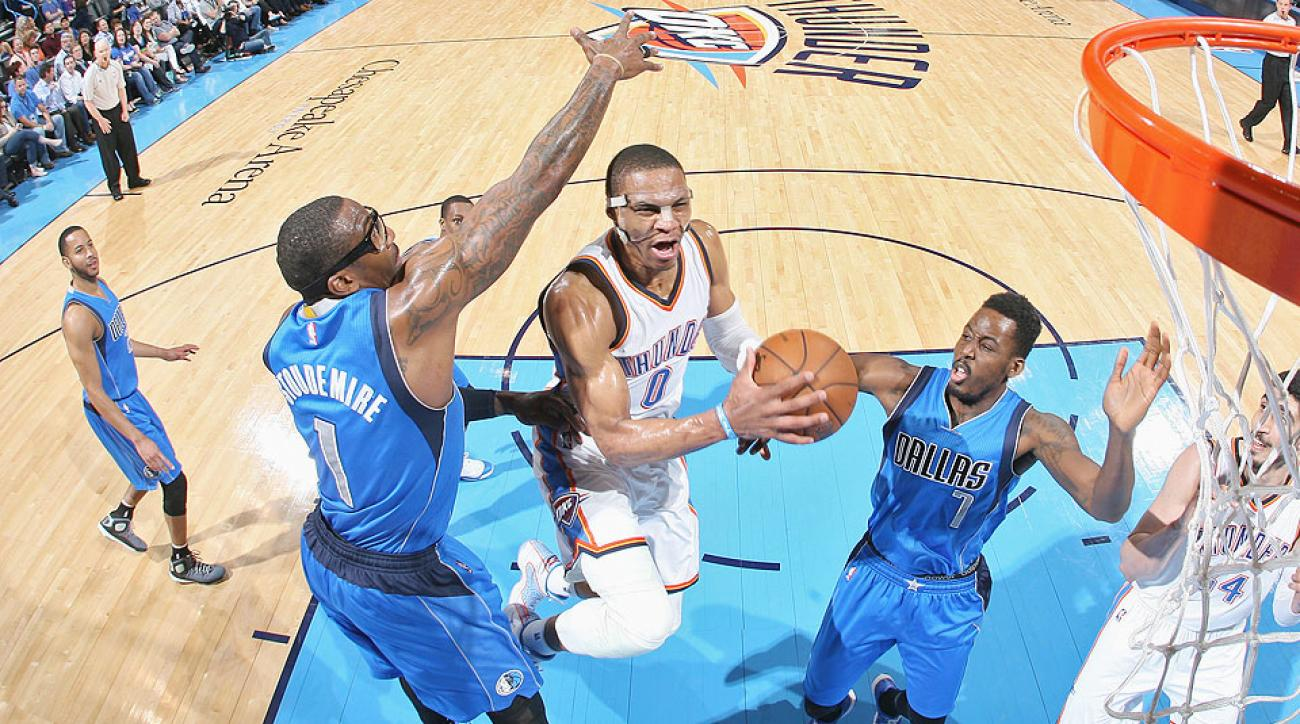 Russell Westbrook posted a triple double in the Thunder's loss to the Mavericks.