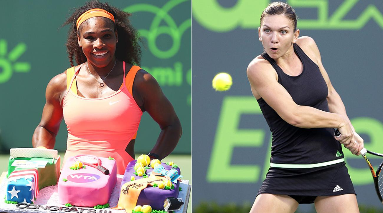 Top seed Serena Williams will take on Simona Halep in the Miami Open semifinals.