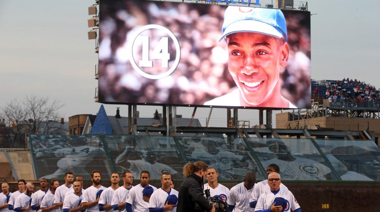 The Chicago Cubs held a tribute for Ernie Banks prior to their game against the St. Louis Cardinals.