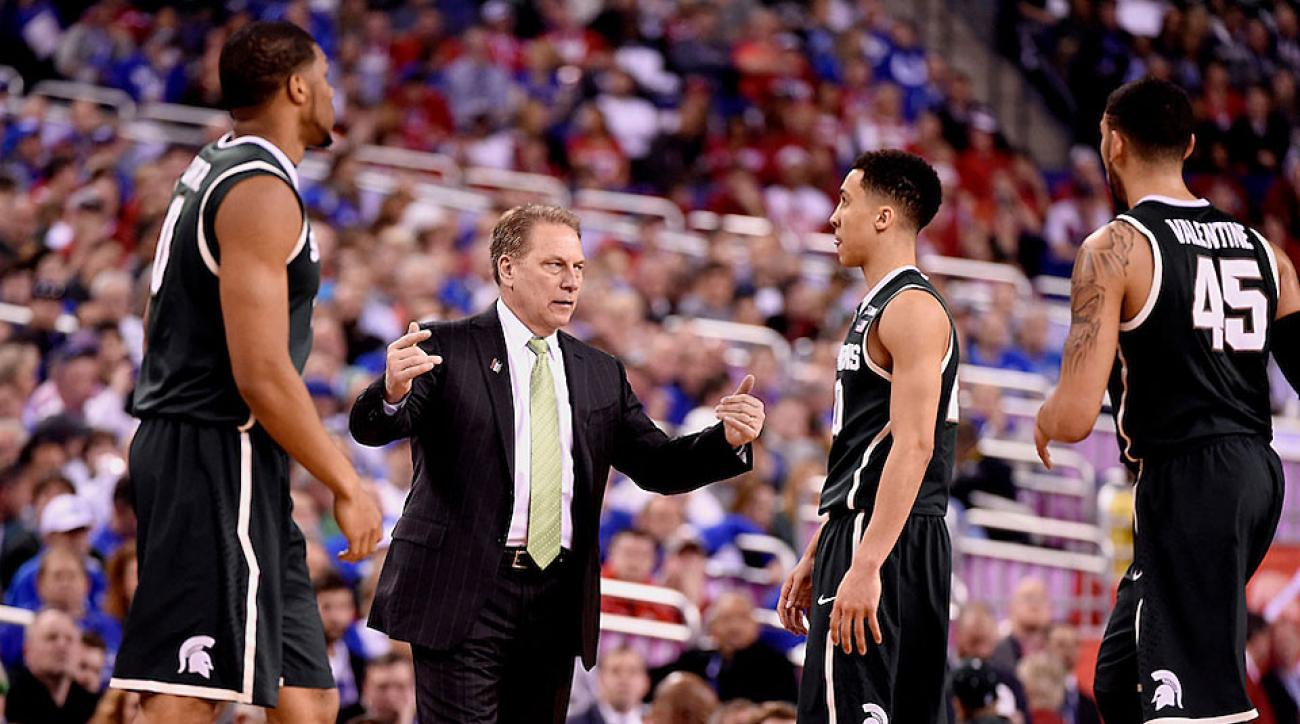 Tom Izzo, Denzel Valentine, Travis Trice, Michigan State Spartans