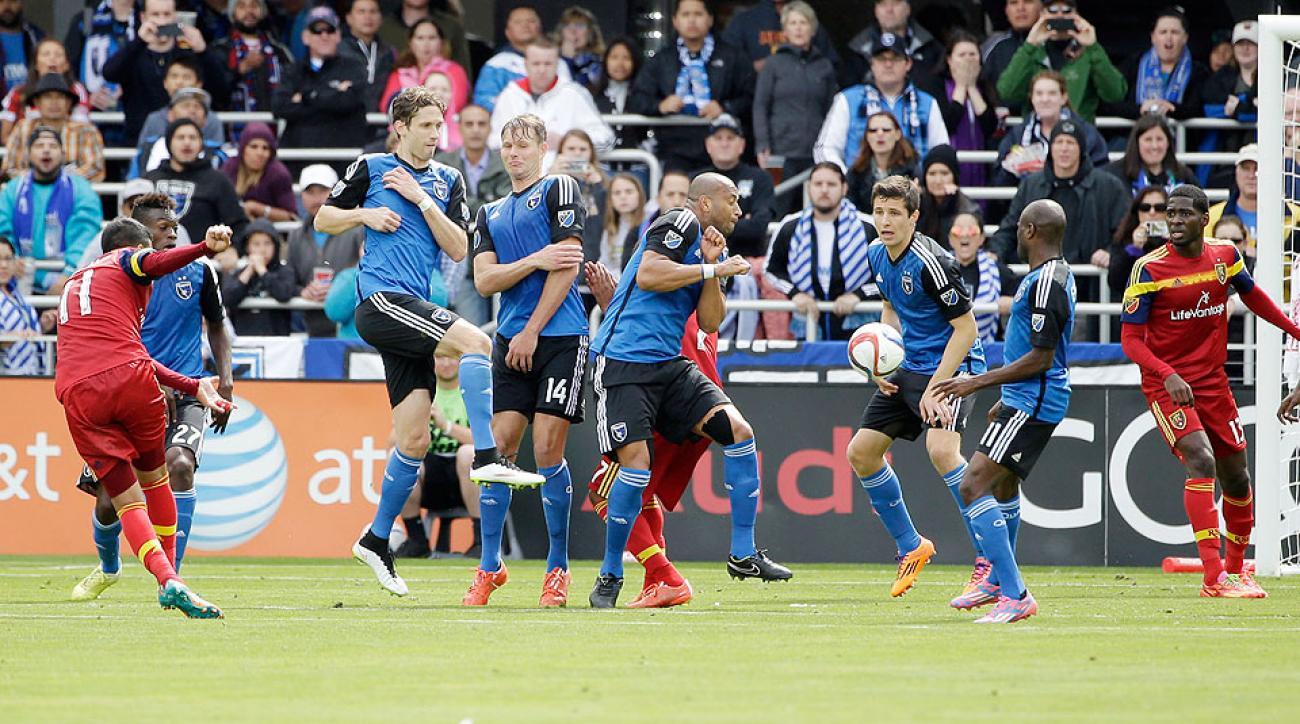 Real Salt Lake's Javier Morales scored the game-winning goal against the San Jose Earthquakes.
