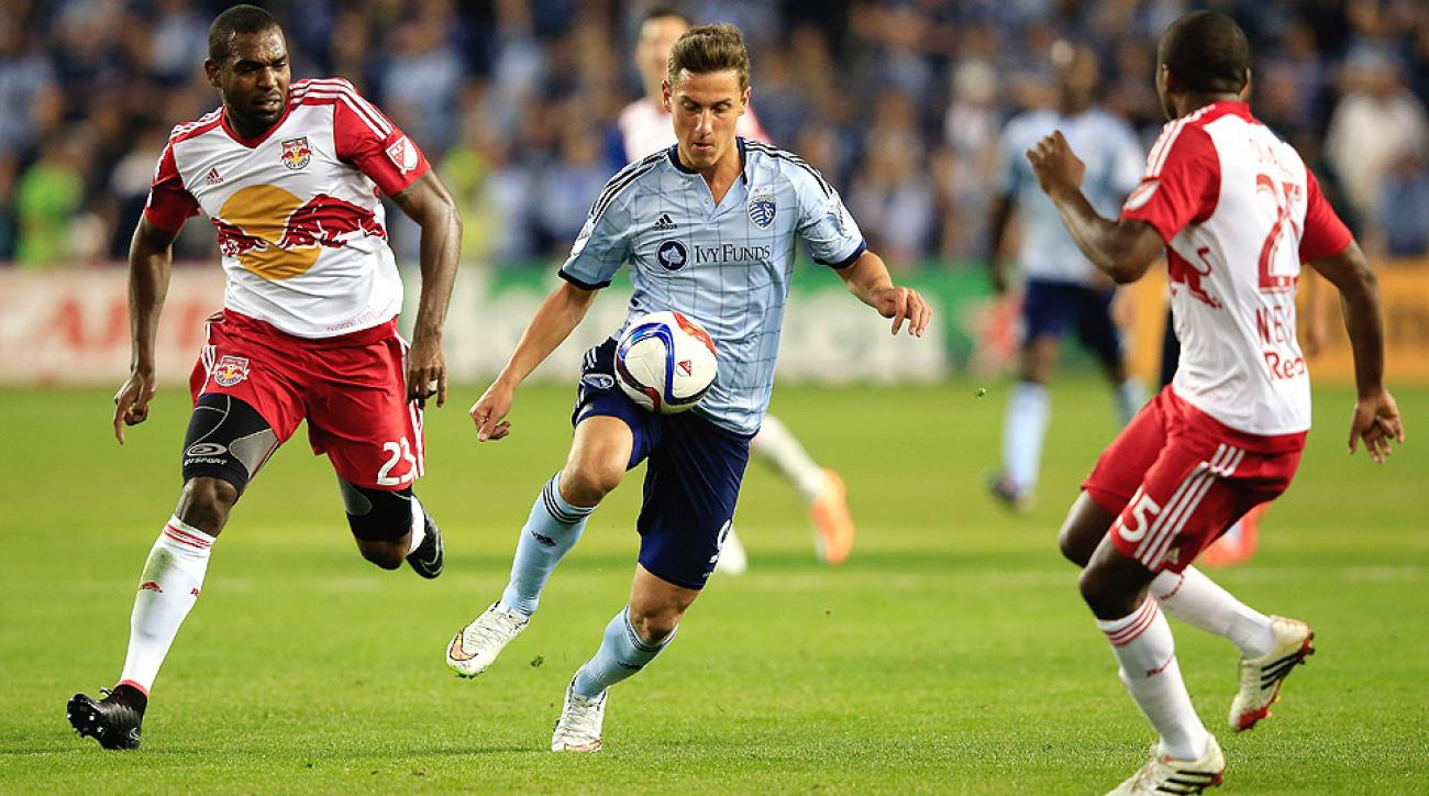 Krisztian Nemeth, pictured against the New York Red Bulls, scored Sporting Kansas City's go-ahead goal to beat Philadelphia.