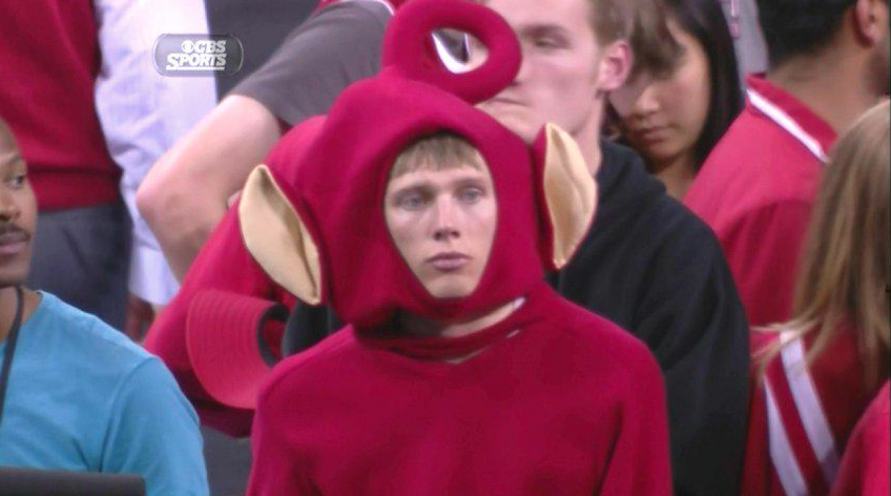 Sad teletubby Wisconsin fan Duke