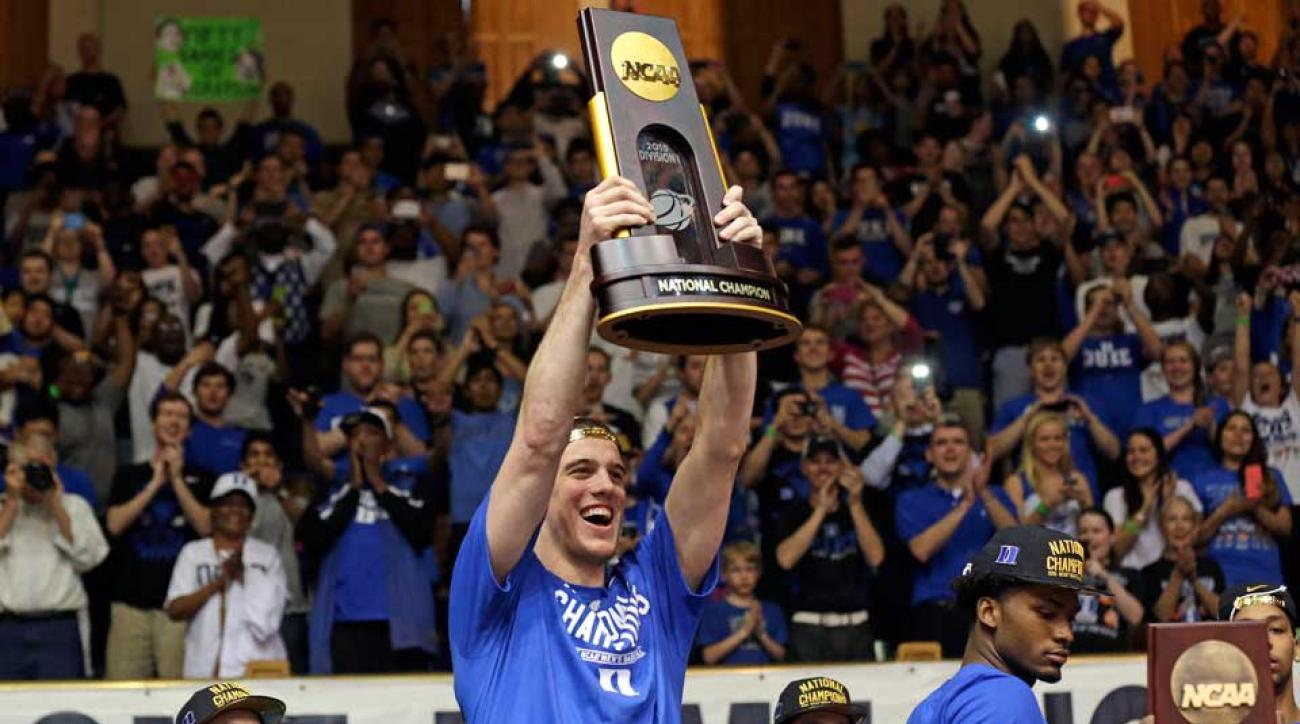 Duke's Marshall Plumlee celebrates title with frozen pizza