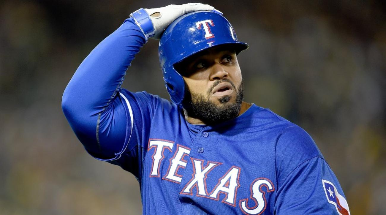 Texas Rangers' Prince Fielder squats Rougned Odor