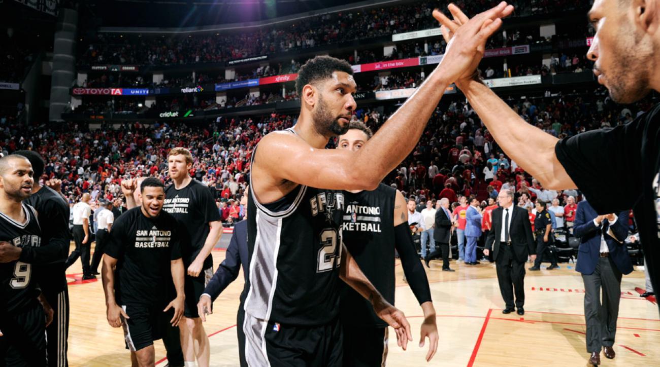 Tim Duncan's block of James Harden preserved the Spurs 104-103 win.