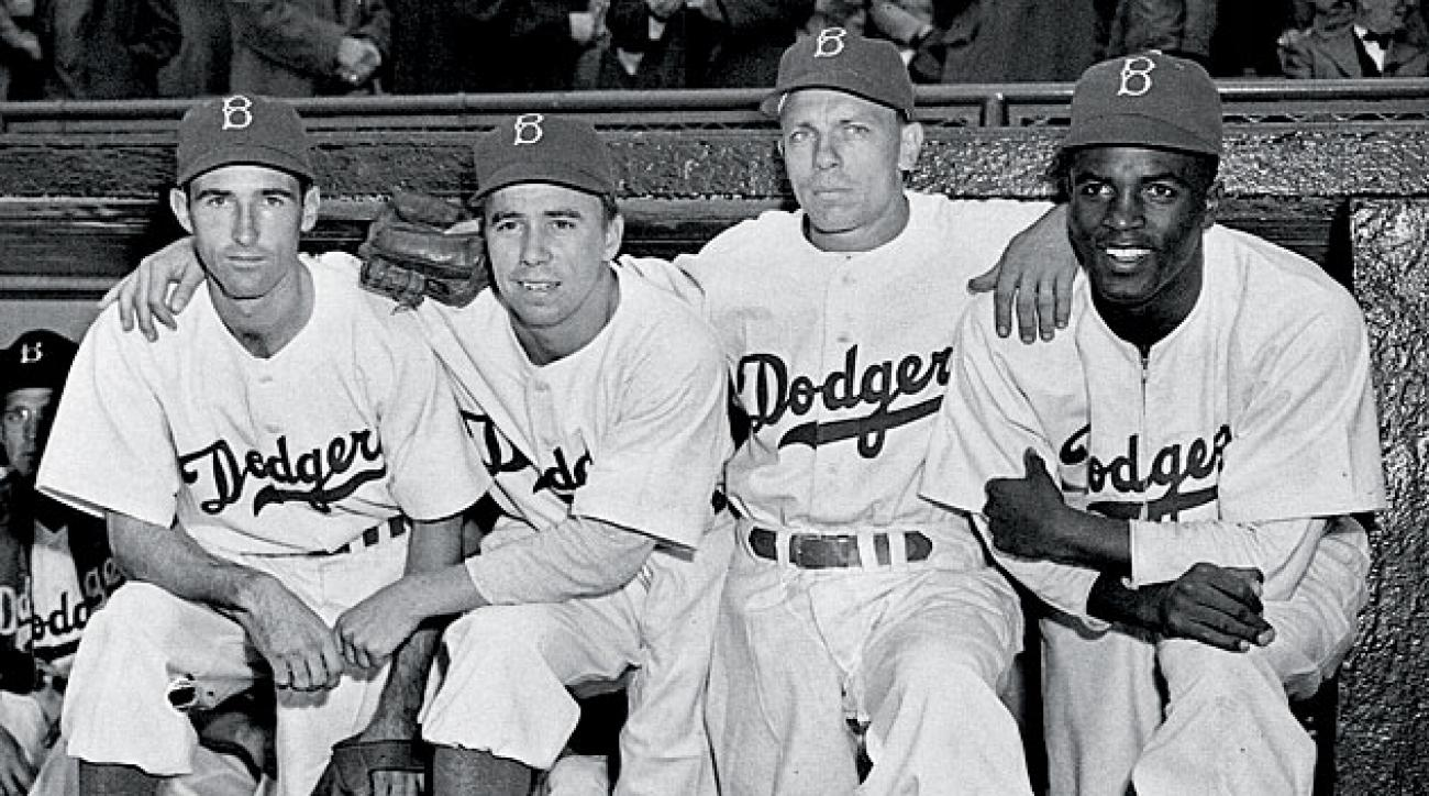 John Jorgensen, Pee Wee Reese, Ed Stanky and Jackie Robinson, Brooklyn Dodgers