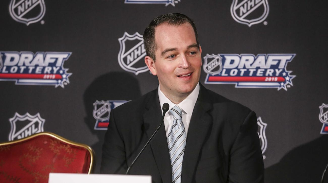 Edmonton Oilers assistant general manager Bill Scott reacts to winning the NHL draft lottery on Saturday.