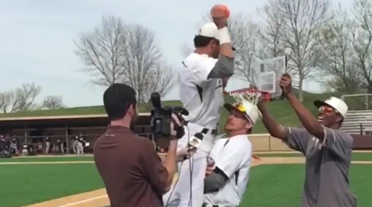 Lehigh pitcher gets dunked on during interview