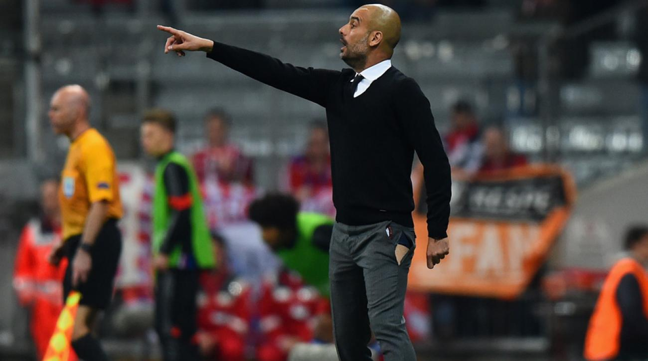 Pep Guardiola's pants ripped during Bayern Munich's Champions League victory over Porto.