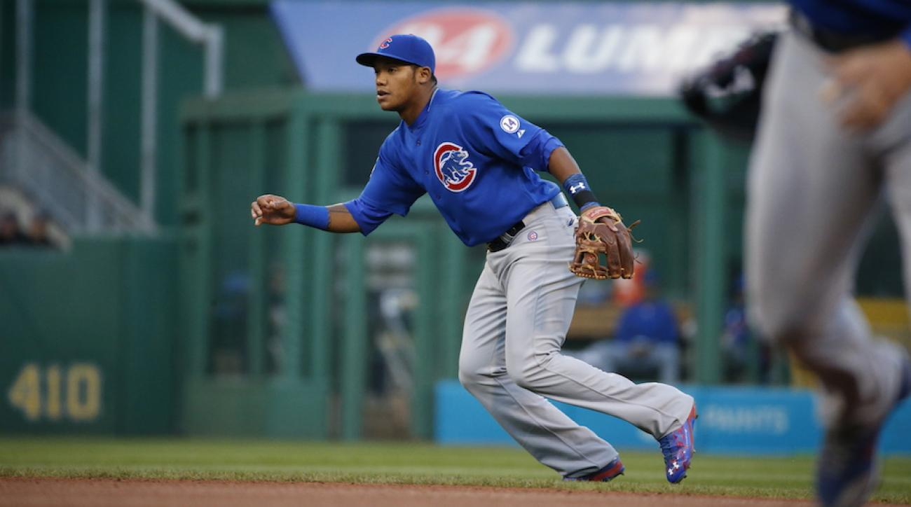addison russell gets his first major league hit