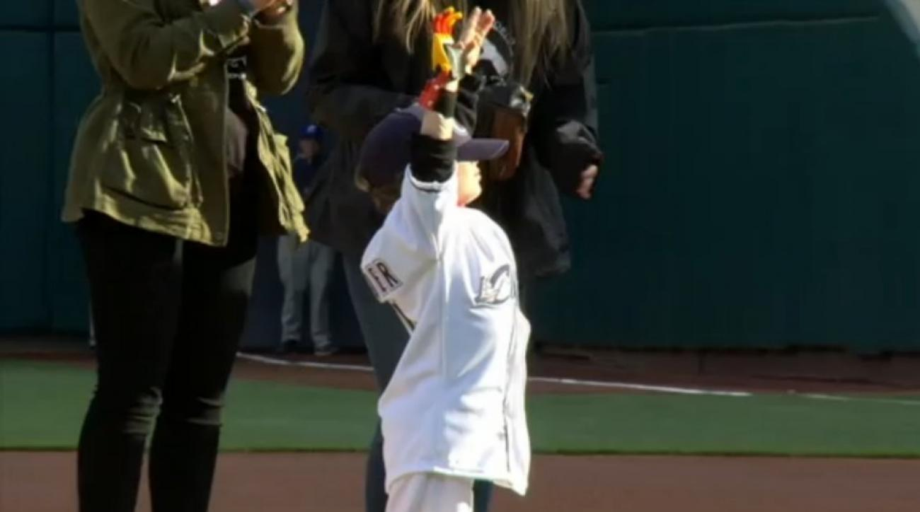 Iron Man prosthetic helps five year old  throw out first pitch