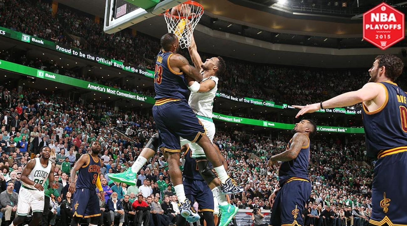 LeBron James block on Evan Turner in Cavs' Game 3 victory over Celtics.