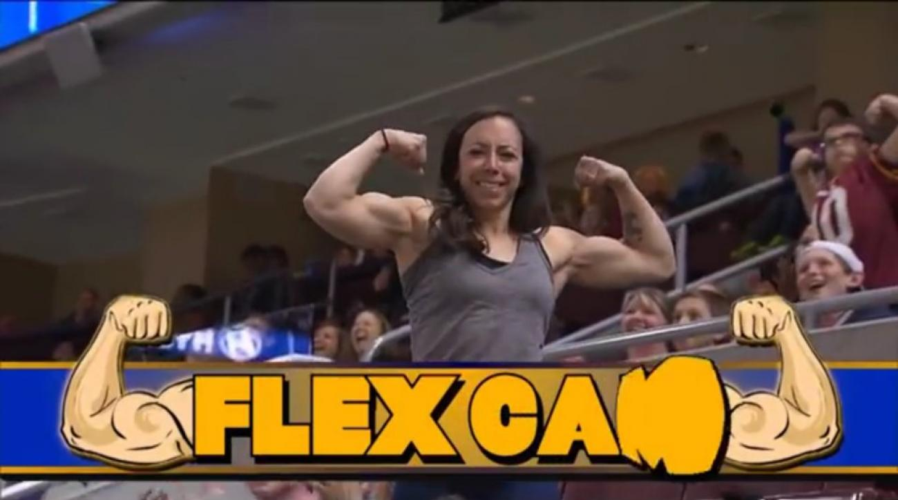 Flex Cam woman wows crowd at Arena League football game
