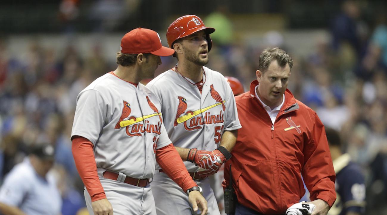 adam wainwright ankle injury st louis cardinals milwaukee brewers