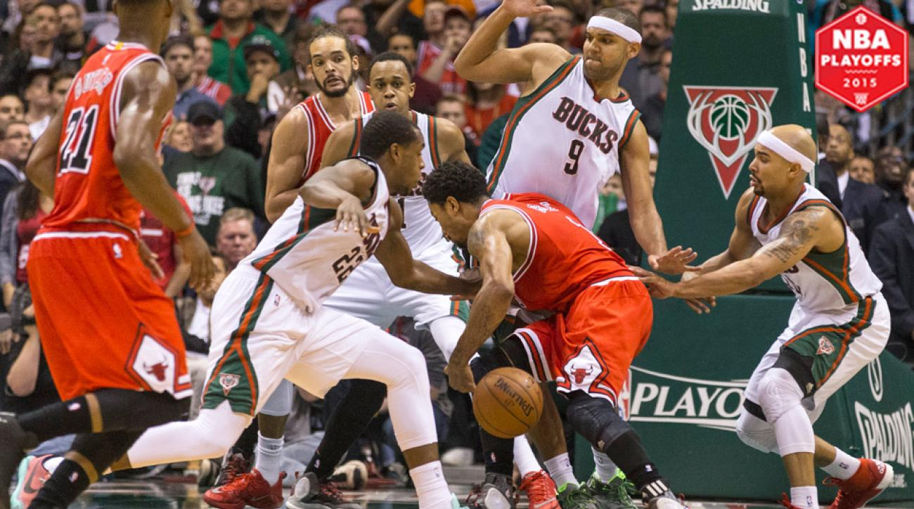 The Bucks stripped Bulls guard Derrick Rose on a critical late-game possession.