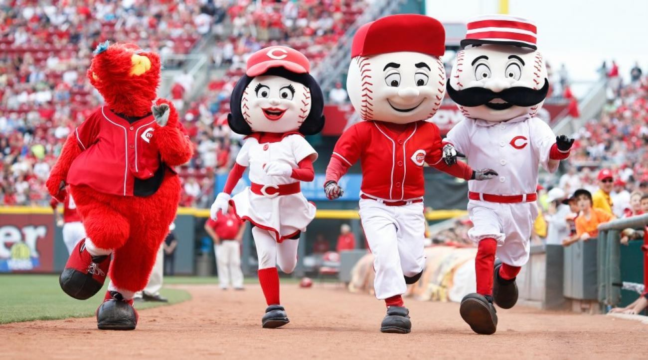 Two Cubs players were almost trampled by Reds Mascots