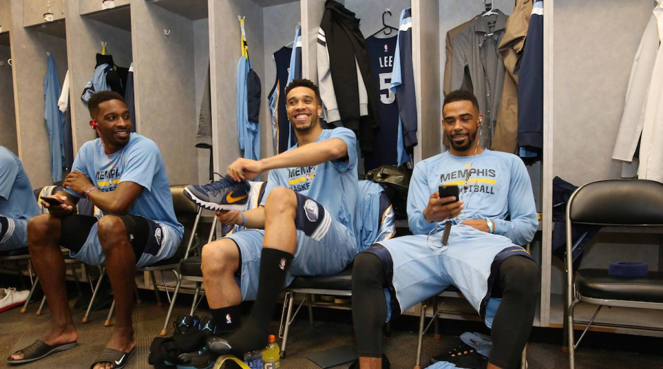 Mike Conley in the Memphis Grizzlies' locker room before Sunday's Game 1 of the Western Conference semifinals against the Golden State Warriors.