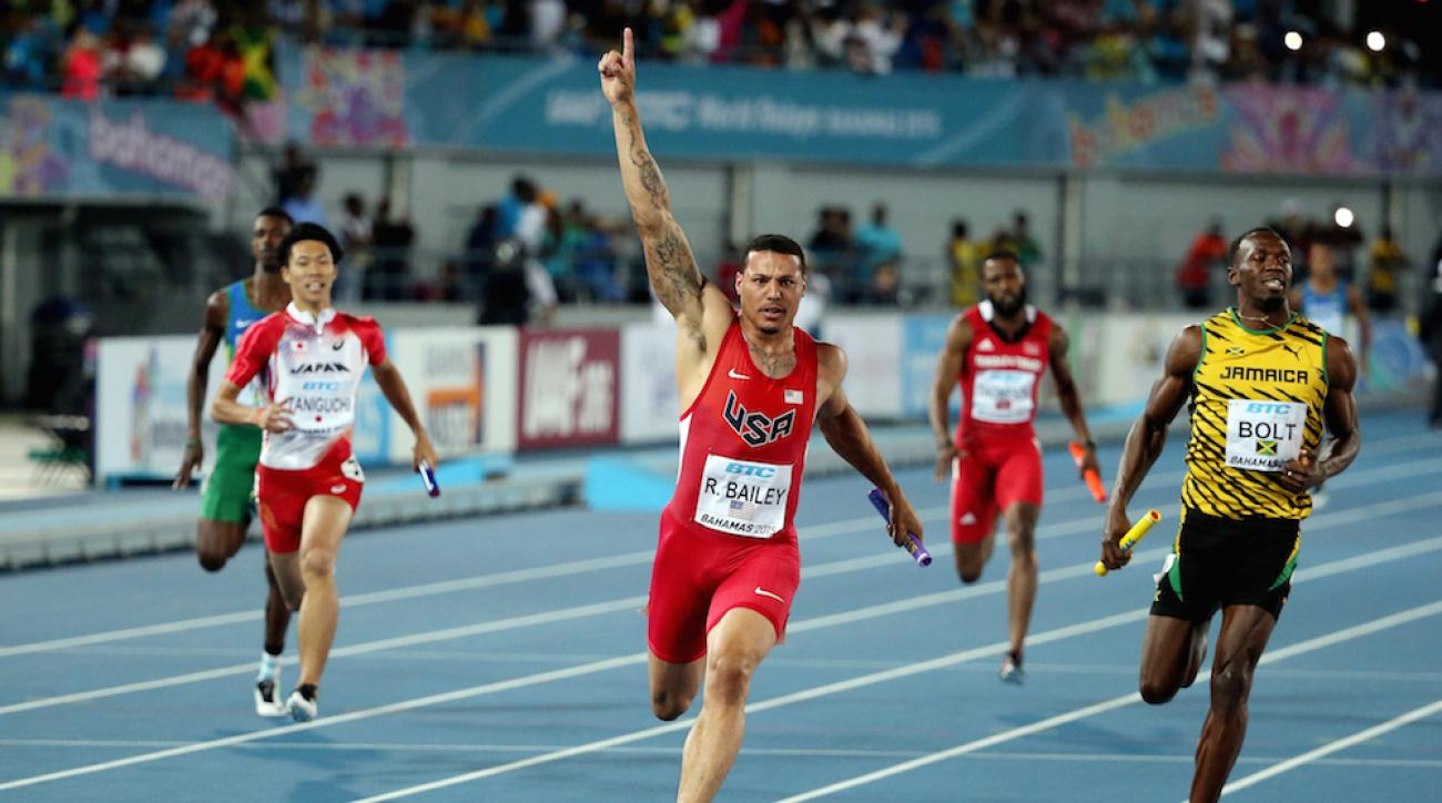 The U.S.' Ryan Bailey celebrates after winning the 4x100 final at the IAAF World Relays in Nassau, Bahamas.