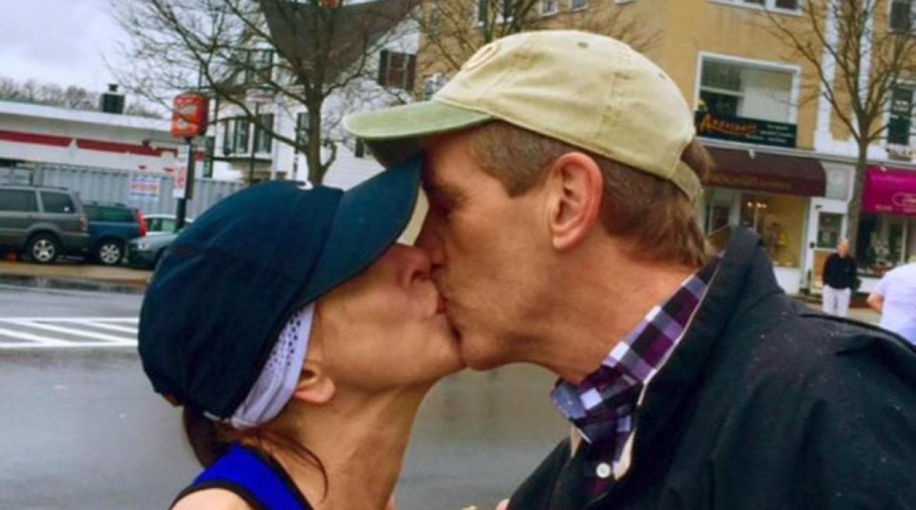 Woman searching for man she kissed during Boston Marathon hears back from his wife