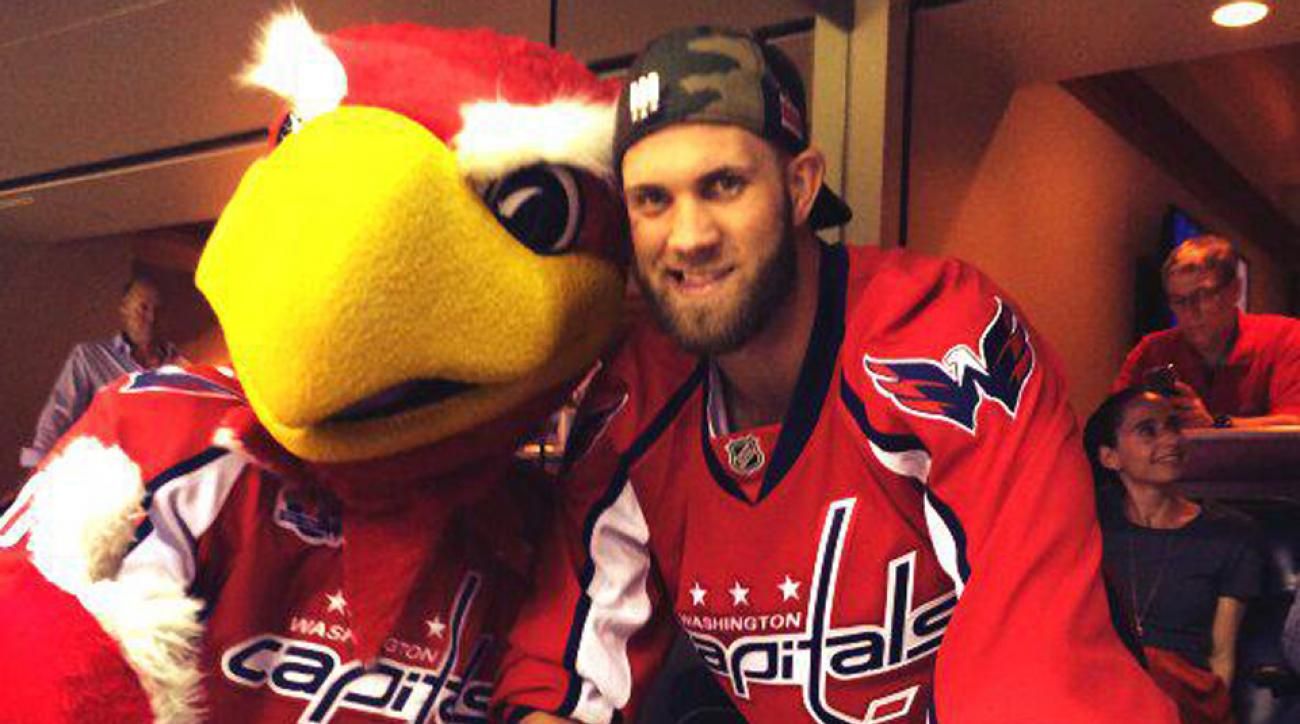 Bryce Harper and the Washington Nationals showed their support for the Capitals against the Rangers.