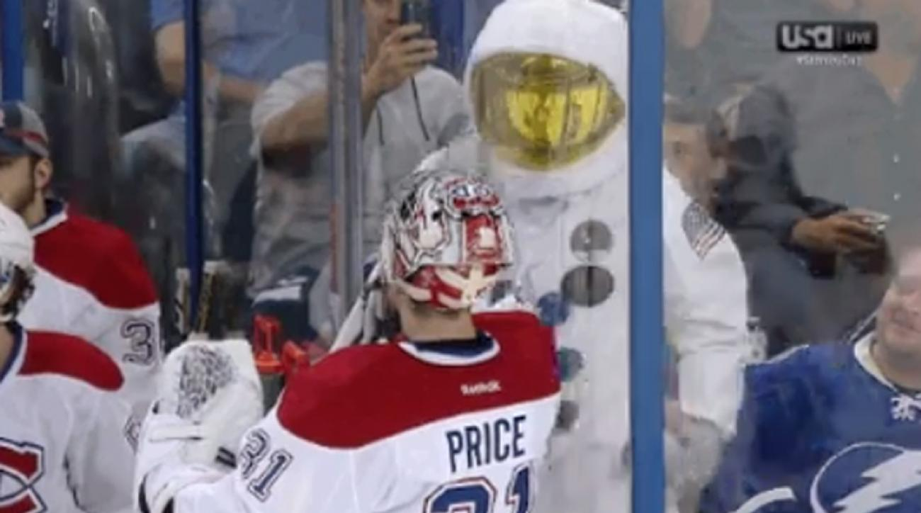 Carey Price squares off with an astronaut during Canadiens-Lightning.