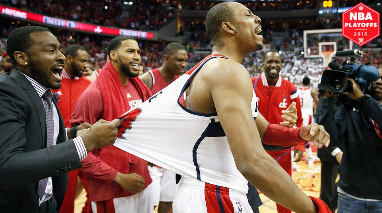 Washington Wizards' Paul Pierce hit a buzzer beater to beat the Atlanta Hawks in Game 3.