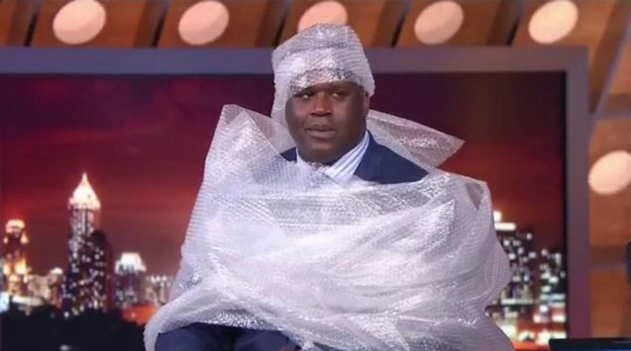 Shaq covered himself in bubble wrap after his big fall