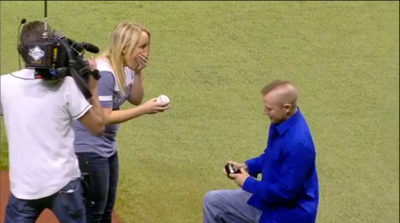 Yankees Rays marriage proposal domestic violence victim