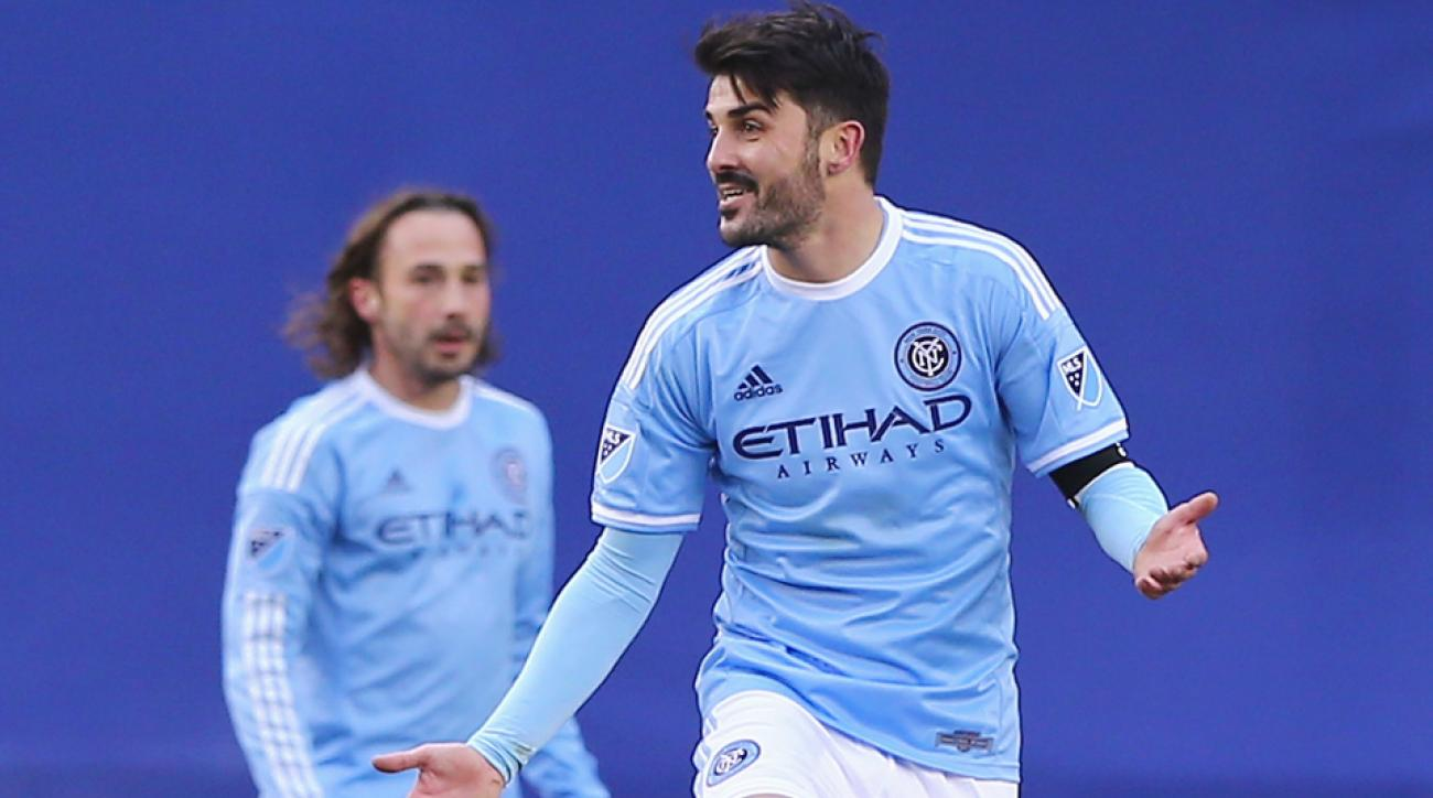 David Villa, shown on March 15 against the Revolution, set up two goals for New York FC against the Chicago Fire on Friday at Yankee Stadium.