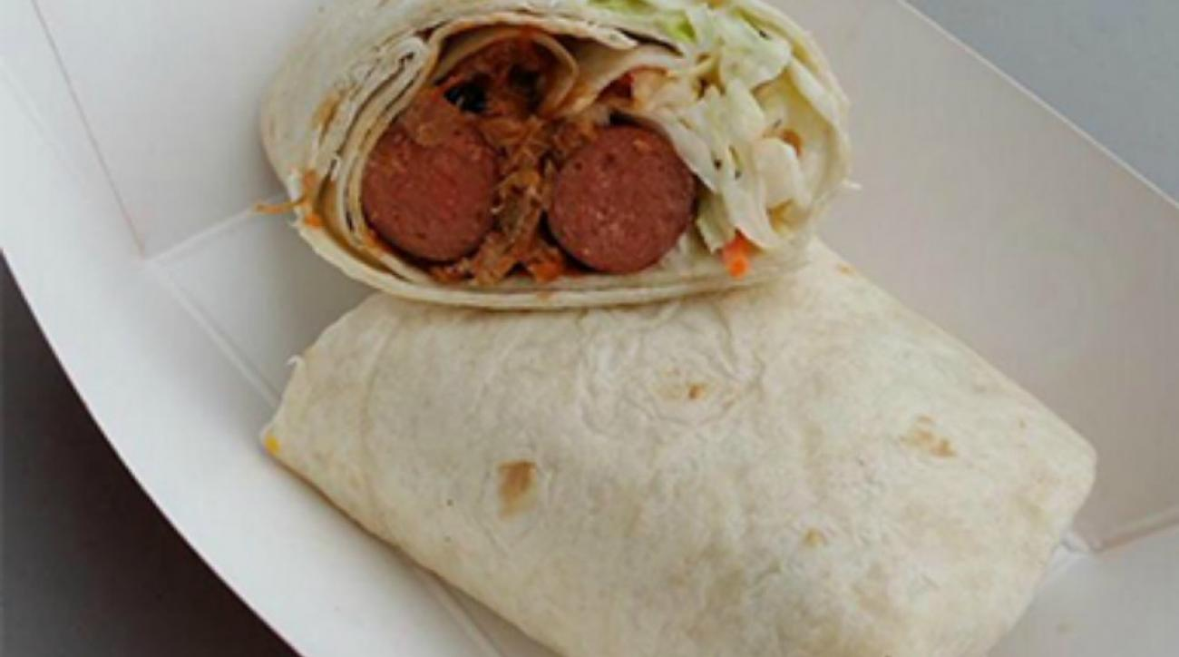 Minor league team makes pulled pork hot dog burrito