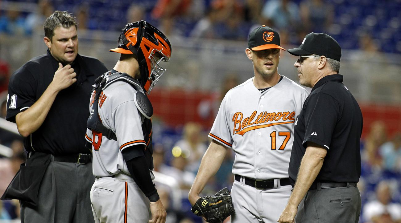 baltimore orioles brian matusz ejected foreign substance
