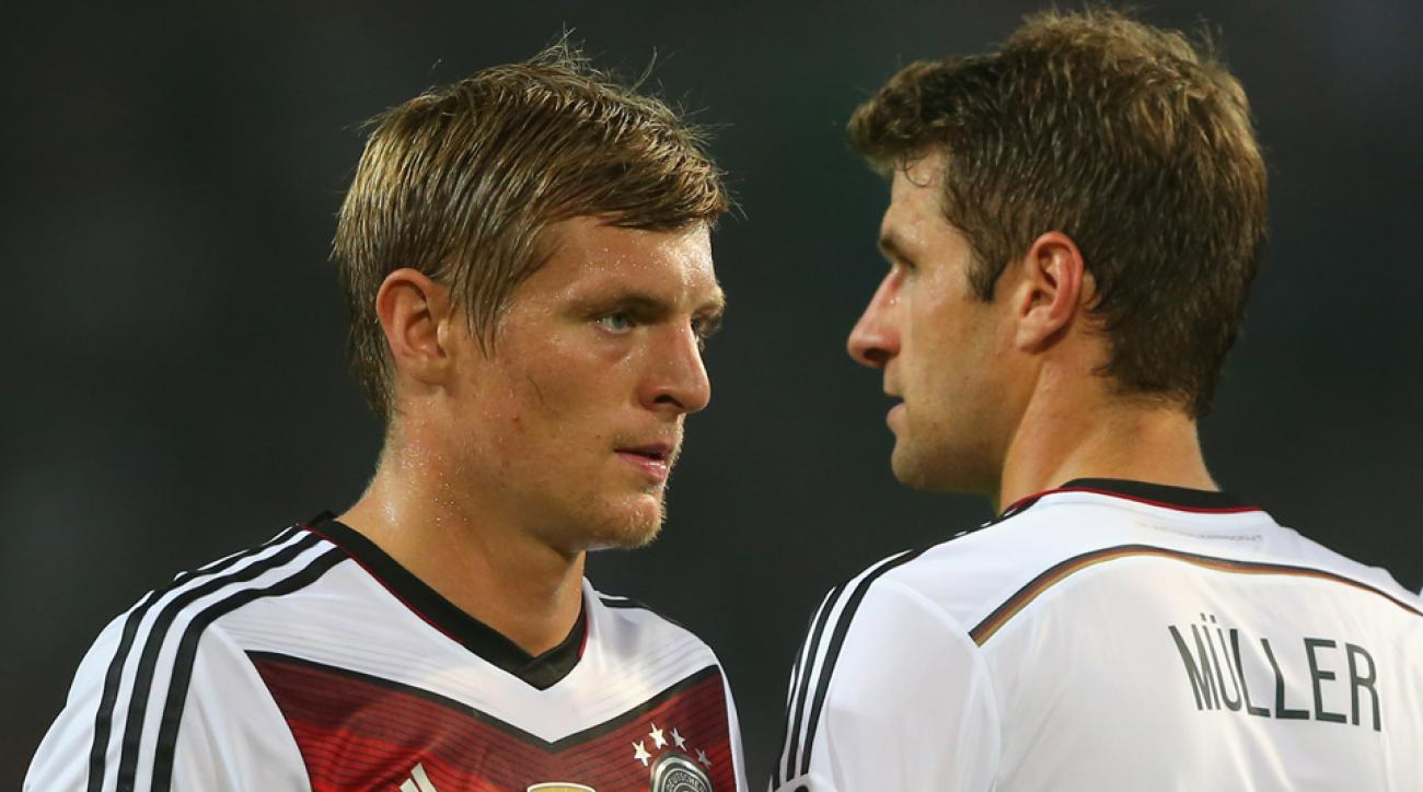From left, Toni Kroos and Thomas Muller: Two players the U.S. won't have to account for in a June 10 friendly.
